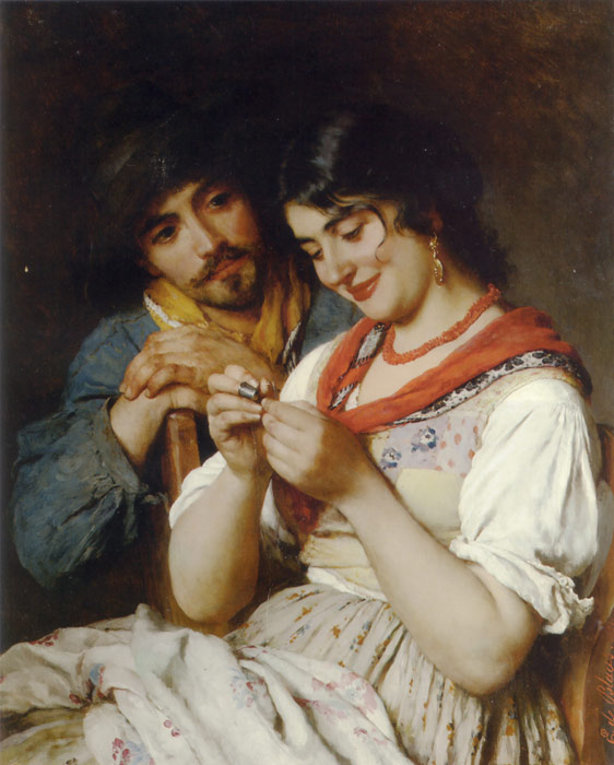 Paintings Reproductions Blaas, Eugene de The Seamstress