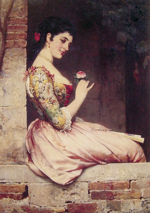 Eugene de Blaas Reproductions-The Rose