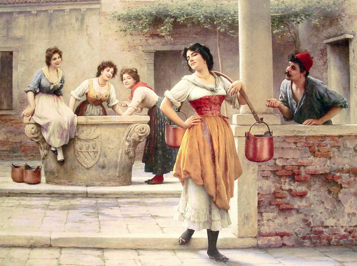 Eugene de Blaas Reproductions-Flirtation at the Well, 1902