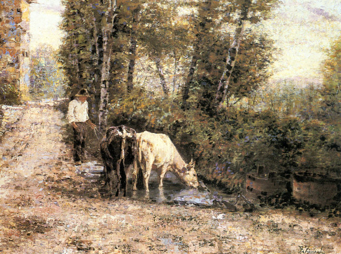 Paintings Reproductions Zampighi, Eugenio Cows Watering at a Quiet Pool