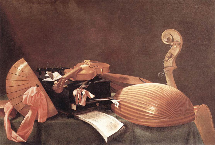 Paintings Reproductions Baschenis, Evaristo Still Life with Musical Instruments