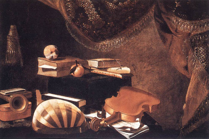 Evaristo Baschenis Reproductions-Still Life with Musical Instruments