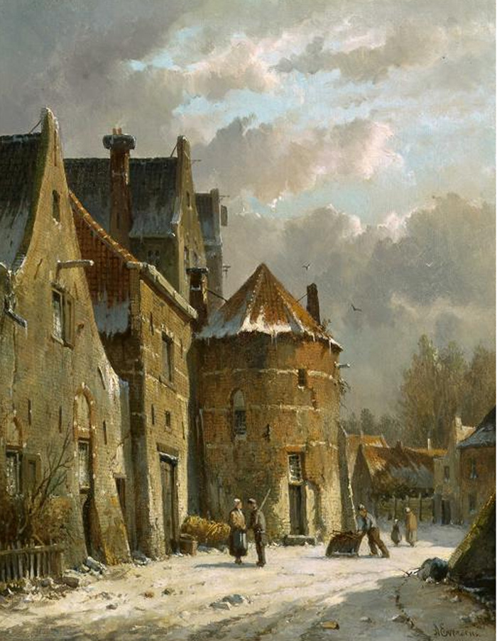 Adrianus  Eversen Reproductions-Villagers in a snowy street