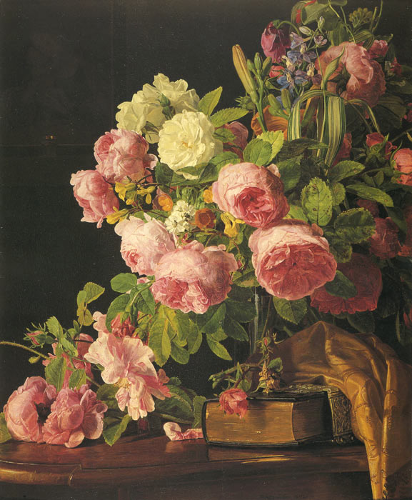 Paintings Reproductions Waldmuller, Ferdinand Georg Roses, 1842