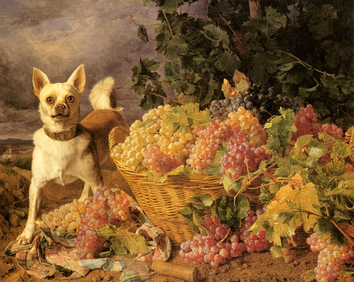 Ferdinand Georg Waldmuller Reproductions-A Dog By A Basket Of Fruits