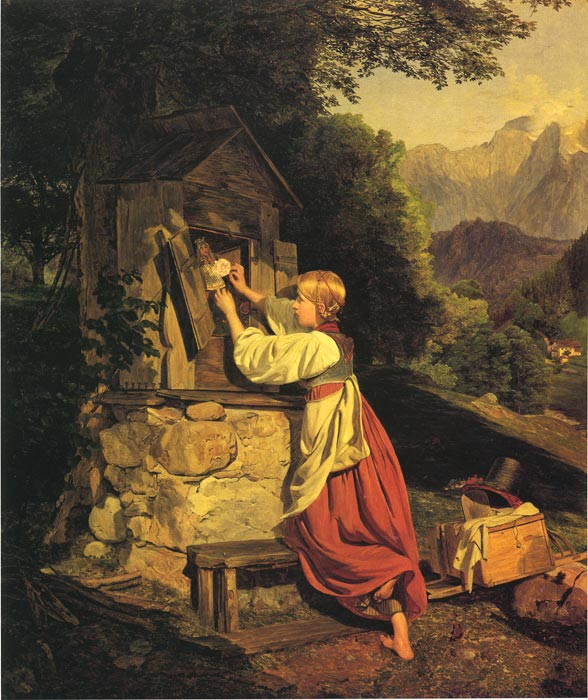 Ferdinand Georg Waldmuller Reproductions-A Girl Putting a Rose on a Wooden House (An Old Game)