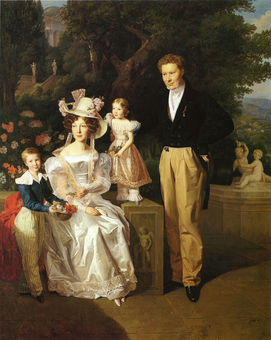 Paintings Reproductions Waldmuller, Ferdinand Georg Theodor Joseph Ritter,His Wife and Their Children Theodor and Berta, 1827