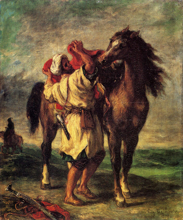 Ferdinand Victor Eugene Delacroix Reproductions-A Moroccan Saddling A Horse, 1855