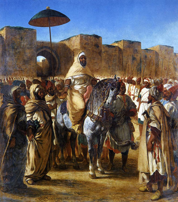 Ferdinand Victor Eugene Delacroix Reproductions-The Sultan of Morocco and his Entourage, 1845
