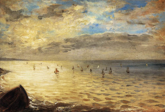 Ferdinand Victor Eugene Delacroix Reproductions-The Sea from the Heights of Dieppe