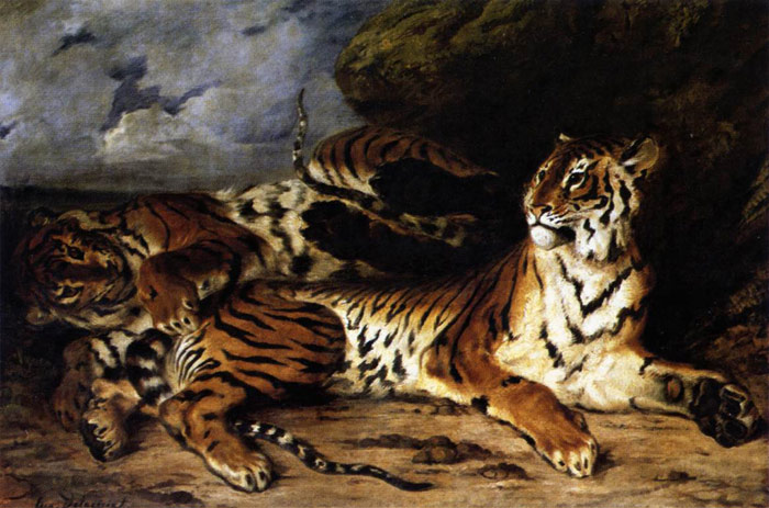 Ferdinand Victor Eugene Delacroix Reproductions-A Young Tiger Playing with its Mother, 1830