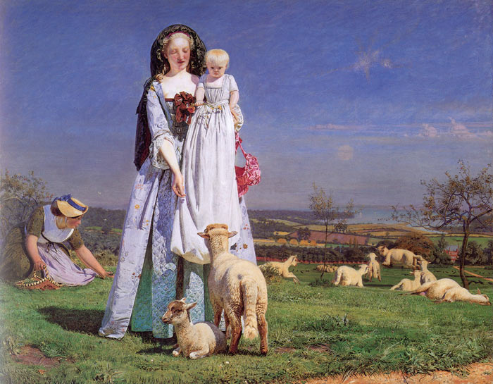 Ford Madox Brown Reproductions-The Pretty Baa-Lambs, , 1851-1859