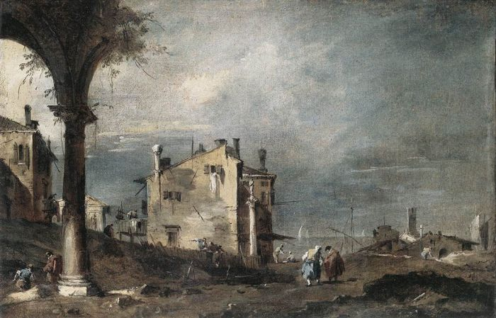 Paintings Reproductions Guardi, Francesco Capriccio with Venetian Motifs, 1760