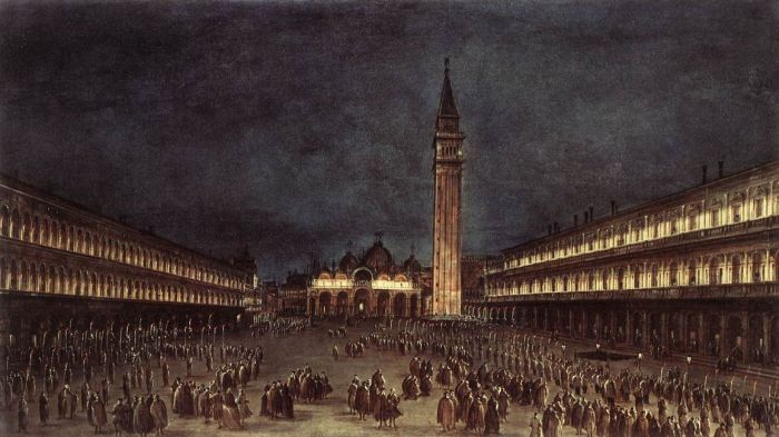 Francesco Guardi Reproductions-Nighttime Procession in Piazza San Marco, 1758