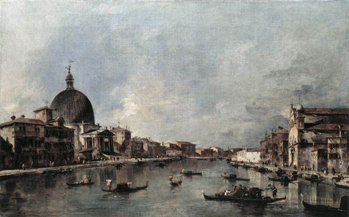 Paintings Reproductions Guardi, Francesco The Grand Canal with San Simeone Piccolo and Santa Lucia, 1780
