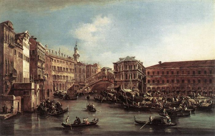 Paintings Reproductions Guardi, Francesco The Rialto Bridge with the Palazzo dei Camerlenghi, 1763