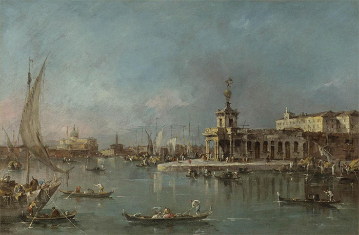 Francesco Guardi Reproductions-The Punta della Dogana, Venice, the Giudecca and the Redontore beyond