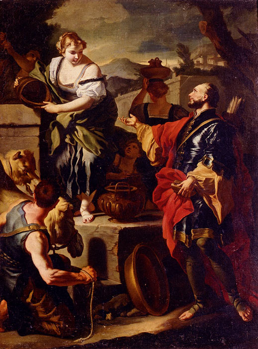 Francesco Solimena Reproductions-Rebecca and Eleazer, 1710