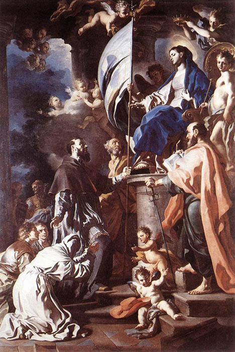 Francesco Solimena Reproductions-St Bonaventura Receiving the Banner of St Sepulchre from the Madonna, 1710