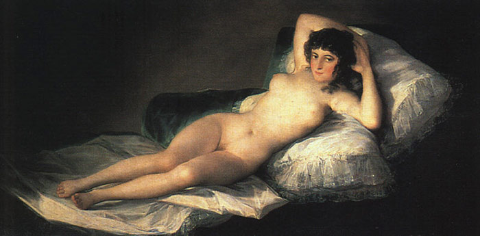Francisco de Goya  Reproductions-Nude Maja, c.1800
