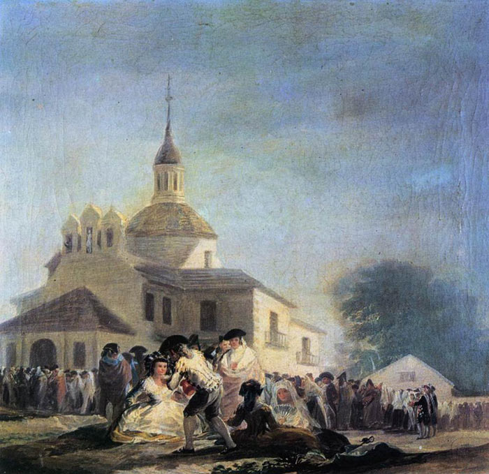 Francisco de Goya  Reproductions-Pilgrimage to the Church of San Isidro, 1788