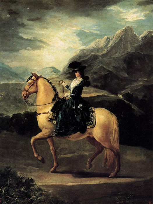 Portrait Of Maria Teresa De Vallabriga On Horseback Oil - Francisco goya paintings
