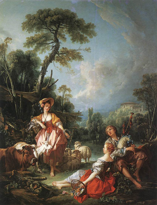 Francois Boucher Reproductions-A Summer Pastoral, 1749