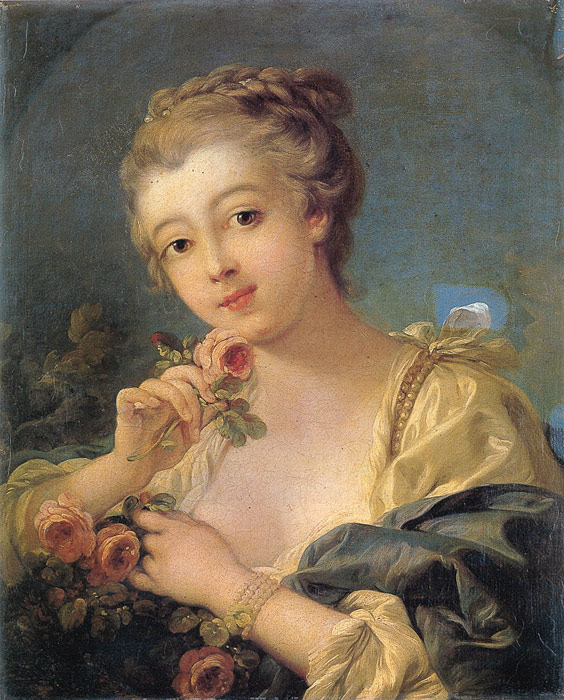 Paintings Reproductions Boucher, Francois Young Woman with a Bouquet of Roses