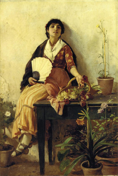 Paintings Reproductions Duveneck, Frank The Florentine Girl, 1887
