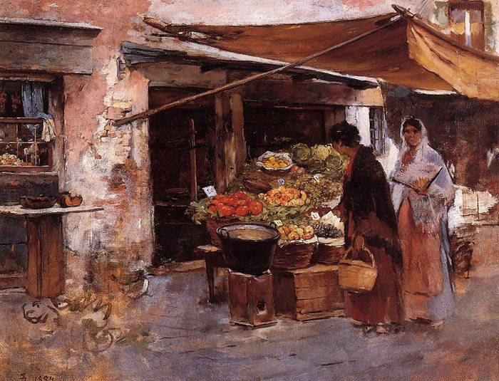 Paintings Reproductions Duveneck, Frank Venetian Fruit Market, 1884