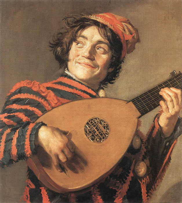 Paintings Reproductions Hals, Frans Buffoon Playing a Lute, c.1623