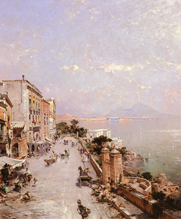 Paintings Reproductions Unterberger, Franz Richard A View of Posilippo, Naples