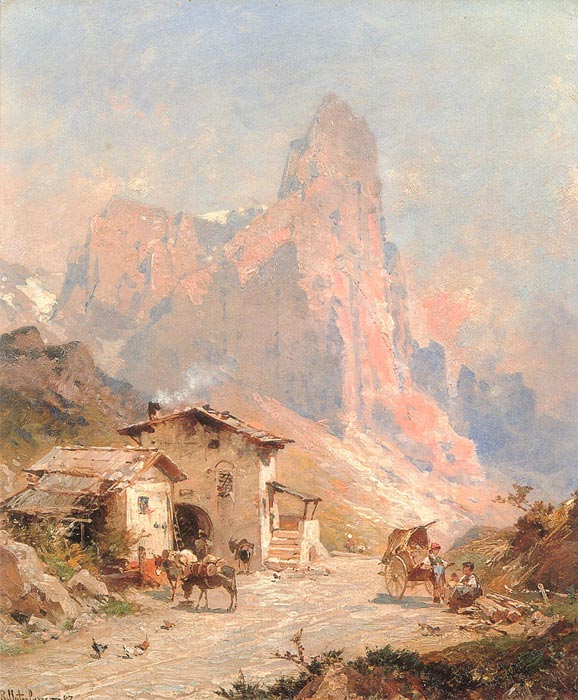 Franz Richard Unterberger Reproductions-Figures in a Village in the Dolomites