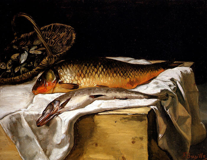 Frederick Bazille Reproductions-Still Life with Fish, 1866