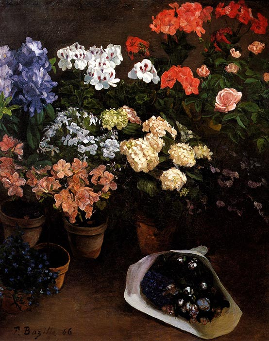 Frederick Bazille Reproductions-Study Of Flowers, 1866