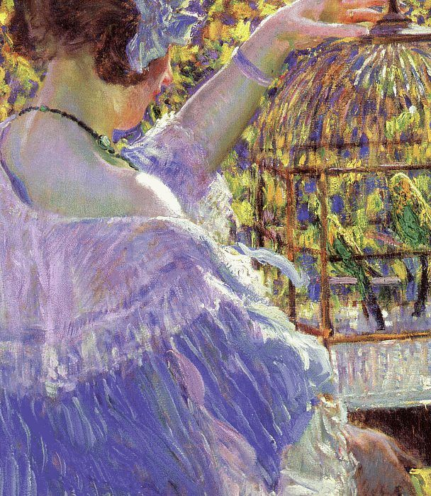 Carl Frederick Frieseke Reproductions-The Bird Cage, 1913