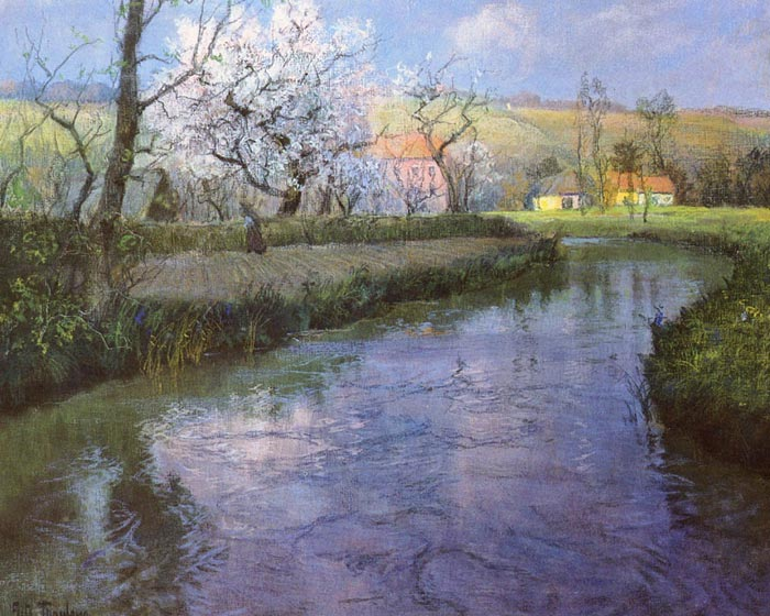Frits Thaulow Reproductions-A French River Landscape