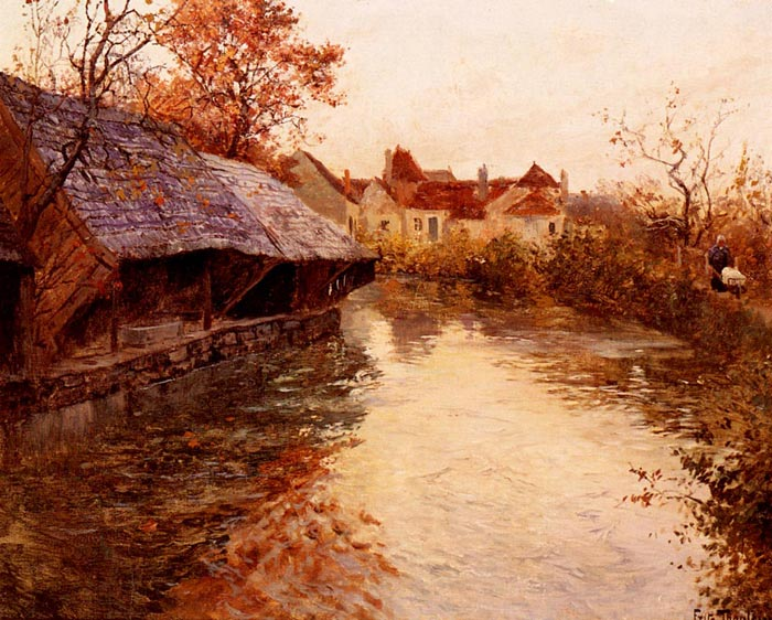 Frits Thaulow Reproductions-A Morning River Scene, 1891