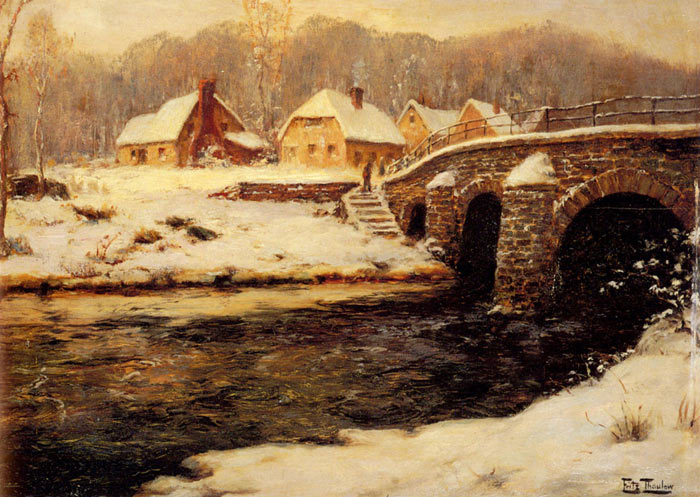 Frits Thaulow Reproductions-A Stone Bridge Over A Stream In Winter