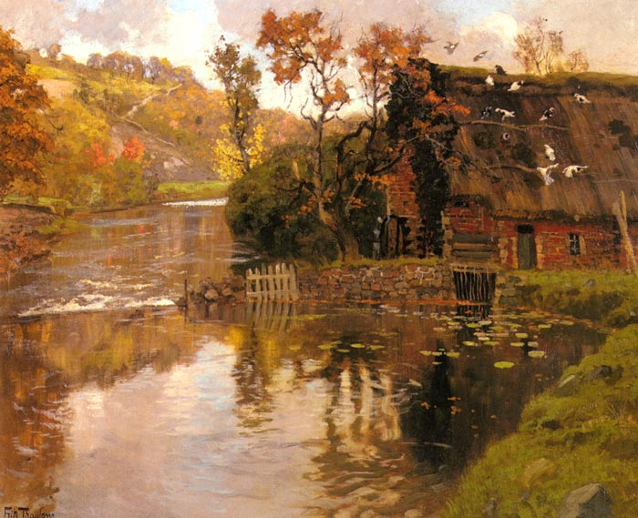 Frits Thaulow Reproductions-Cottage By A Stream