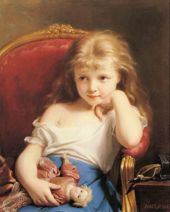 Fritz Zuber-Buhler Reproductions-Young Girl Holding a Doll
