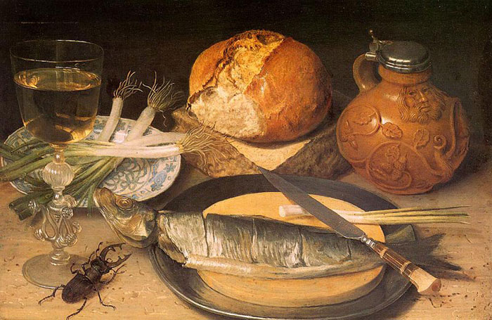 Paintings Reproductions Flegel, Georg Fish Still Life with Stag-Beetle, 1653