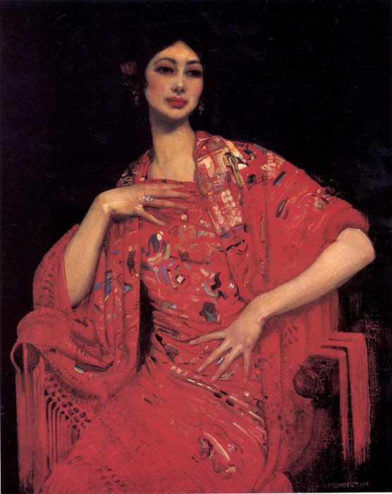 The Red Shawl, 1913 Lambert, George Painting Reproductions