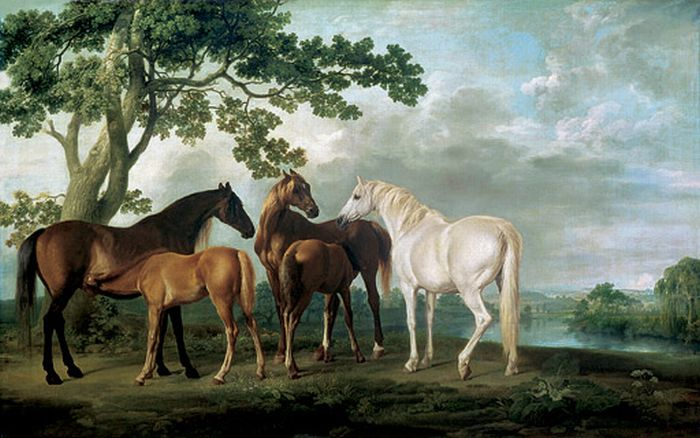 Paintings Reproductions Stubbs  George Mare and Foals in a River Landscape, 1763