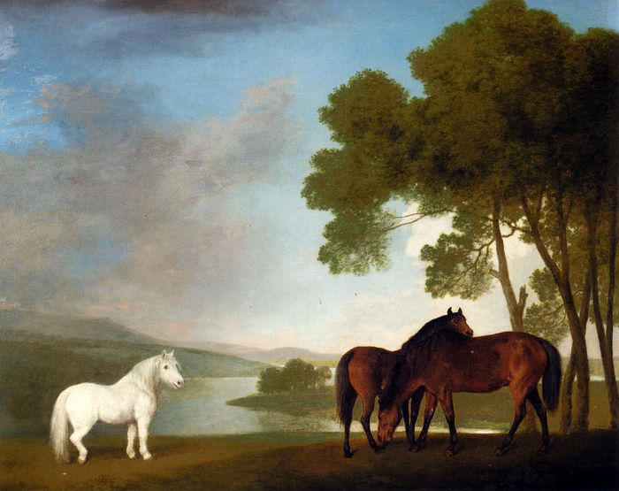 George Stubbs Reproductions-Two Bay Mares And A Grey Pony In A Landscape, 1793