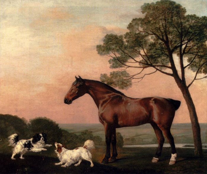 George Stubbs Reproductions-A Bay Hunter With Two Spaniels, 1777