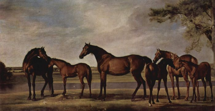 George Stubbs Reproductions-Mares and Foals Frightened in Front of a Looming Storm, 1764