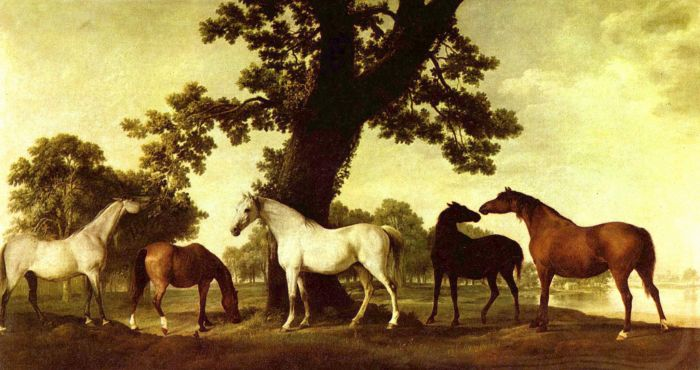 George Stubbs Reproductions-Horses in a Landscape, 1760