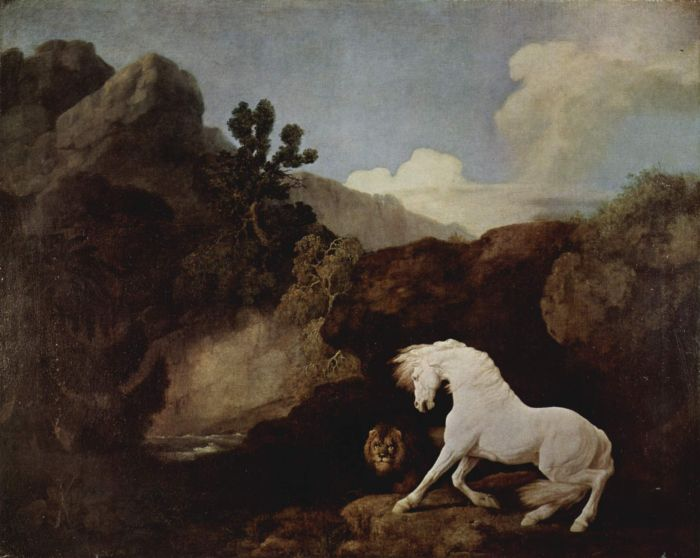 George Stubbs Reproductions-The Lion and the Frightened Horse, 1770