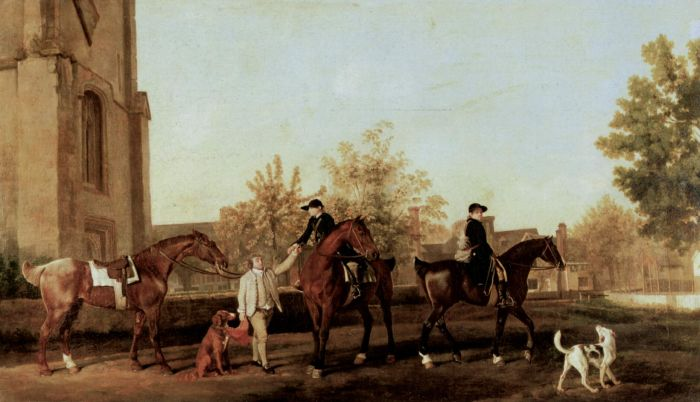 George Stubbs Reproductions-Hunters Leaving  Southill, 1763